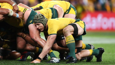 The Wallabies pack down a scrum against Samoa last year.