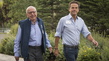 Power player: Lachlan Murdoch with father Rupert.