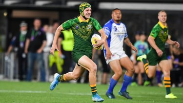 Kalyn Ponga, who admitted he would like to play for the All Blacks one day, in action for Australia at last year's World Cup Nines tournament.