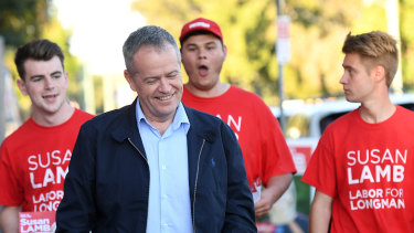 Labor leader Bill Shorten campaigning in Longman on Saturday.
