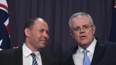 Newly elected leader of the Liberal Party Scott Morrison with deputy leader Josh Frydenberg speak to the media at Parliament House on Friday afternoon.