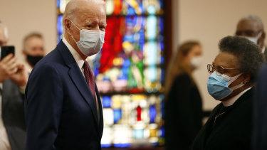 Democratic presidential candidate, former Vice President Joe Biden visits a black church.