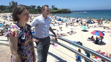 NSW Premier Gladys Berejiklian and Member for Coogee Bruce Notley-Smith are seen prior to addressing media at Coogee Beach.