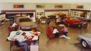 Designers at work in the main Holden styling studio, c.1975.