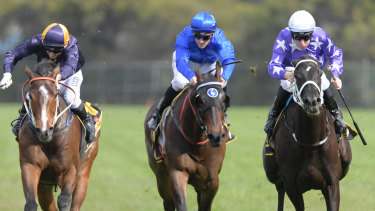Late bloomer: Tommy Berry brings Noire down the outside to win the Shannon Stakes.
