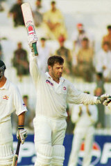 Mark Taylor reaches his triple century in Peshawar in 1998 during Australia's last visit to Pakistan.