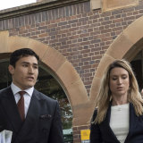 Sam Burgess's lawyer, Bryan Wrench, leaves Moss Vale Court house.