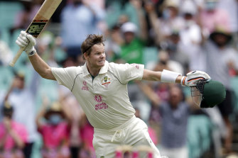 Steve Smith celebrates reaching a century on day two of the third Test.