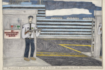 Samraing Chea,Security Guards Standing a fence that belongs to the Secret Research Facility,2013; greylead and colour pencil on paper,25 x 35 cm