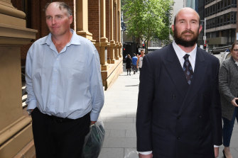 David, left, and Philip Thompson leave the Supreme Court in Sydney on Friday.