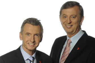 Dennis Cometti, right, with fellow commentator Bruce McAvaney.