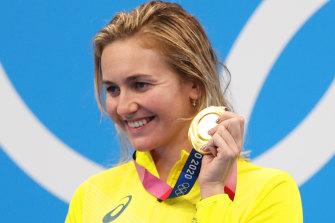 Ariarne Titmus displays her hard-won 400m freestyle Olympic gold medal.