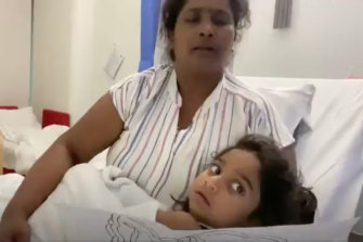 Priya and Tharnicaa Murugappan in Perth Children's Hospital.