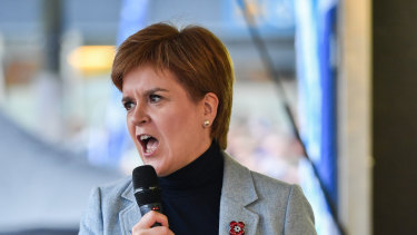 Scotland's First Minister Nicola Sturgeon addresses Independence supporters.