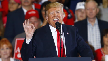 President Donald Trump speaks during a campaign rally at Pensacola International.