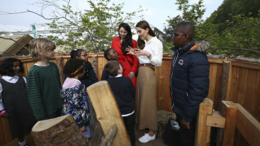 The Duchess of Cambridge during a visit to her garden at the RHS Chelsea Flower Show.