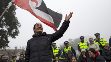 Pania Newton, a co-founder of Save Our Unique Landscape, or SOUL, speaks during the protest and occupation at Ihumatao, in Auckland.