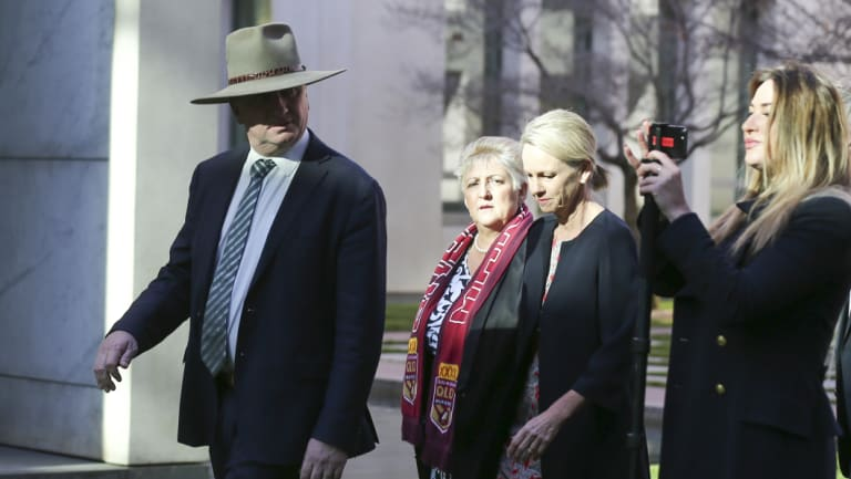 Barnaby Joyce pictured with Vikki Campion (far right) last year.