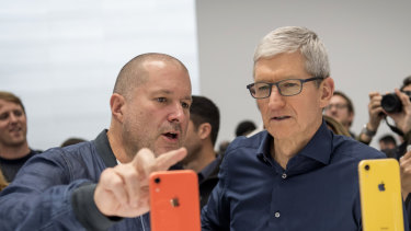 Jony Ive, chief design officer for Apple, left with current Apple chief Tim Cook.