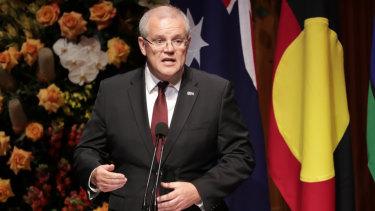 Prime Minister Scott Morrison speaks at the memorial for Bob Hawke.