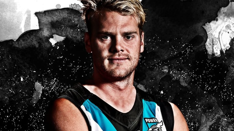 How new Port Adelaide (and former Melbourne) player Jack Watts is pictured in his new colours.