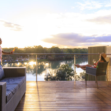 Soak up Murray River views from your deck at The Frames before taking a sunset sail on a 100-year-old boat.