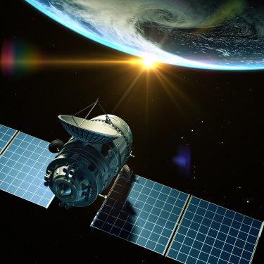 A satellite orbits Earth.