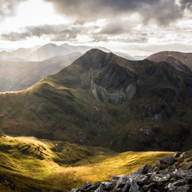 Stob Ban and Glen Nevis in the Scottish Highlands.
