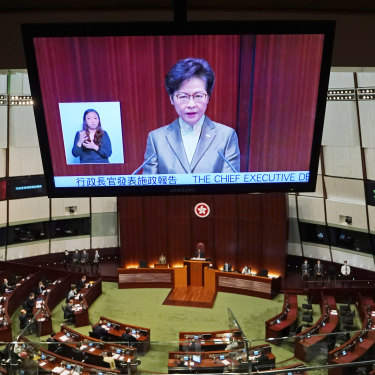 Hong Kong Chief Executive Carrie Lam delivering her policy address to  the Legislative Council on Wednesday.