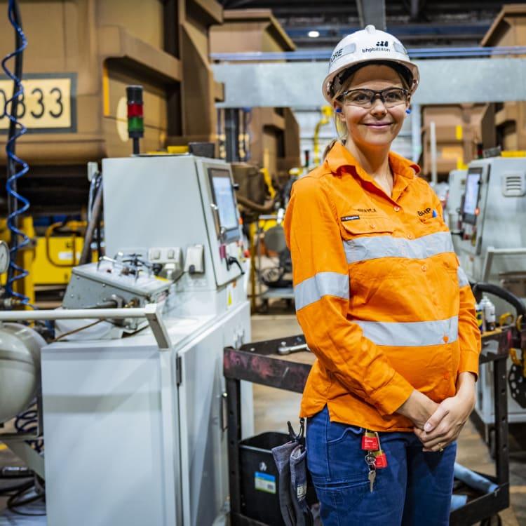 Engineering technician Shayla Moore at the BHP Mooka facility in the Pilbara.