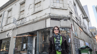 CBD resident Nicola Smith in front of the Job Warehouse.
