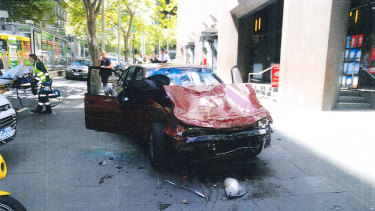 The car driven by James Gargasoulas after he hit and killed six pedestrians on Bourke Street.