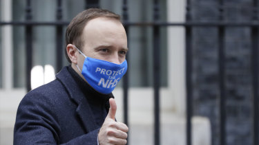 Britain's Health Secretary Matt Hancock leaves Downing Street.