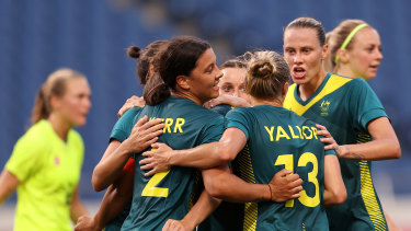 Sam Kerr was on target twice for the Matildas but missed a penalty against Sweden.