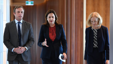 Queensland Health Minister Steven Miles, Premier Annastacia Palaszczuk and Chief Health Officer Dr Jeannette Young.