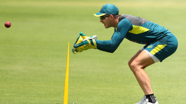 Tim Paine trains at the Gabba on Monday ahead of the first Test.