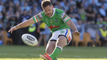 Aidan Sezer slots the winning field goal for Canberra against Cronulla on Sunday, one of three he kicked in the match.