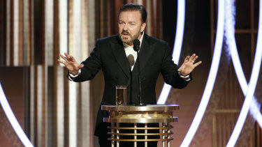 """No one cares about movies anymore."" Ricky Gervais at the Golden Globes."