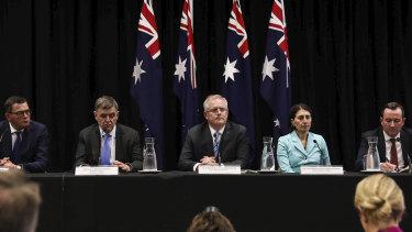 Victorian Premier Daniel Andrews, Chief Medical Officer Brendan Murphy, Prime Minister Scott Morrison, NSW Premier Gladys Berejiklian and WA Premier Mark Mcgowan speak to the media on Friday.