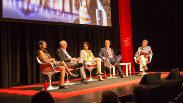 The World Science Festival Queensland Innovation panel (l-t-r) UQ's Dr Neena Mitter, Griffith University Professor of Biochemistry David Lloyd, QUT Associate Professor Chamindie Punyadeera, CEO of Field Orthopaedics Chris Jeffery, and moderator Professor Ian Fraser.