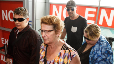 Bali Nine drug smuggler Renae Lawrence arrives at Newcastle Airport with her mother Beverley Waterman and other family members on Thursday.