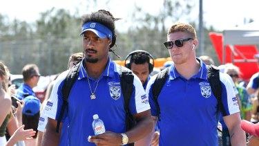 Jayden Okunbor with Bulldogs teammates in Port Macquarie.