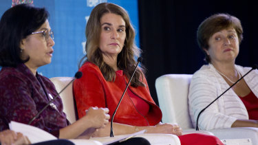 From left, Indonesia's Finance Minister Sri Mulyani Indrawati, Co-Chair of the Bill and Melinda Gates Foundation Melinda Gates and Chief Executive Officer of the World Bank Kristalina Georgieva attend a seminar ahead of the annual meetings of the IMF and World Bank in Bali, Indonesia last week.