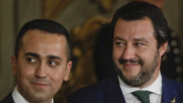 Italy's governing partnership:  Matteo Salvini, right, leader of the League party, and Luigi Di Maio, leader of the Five-Star movement.