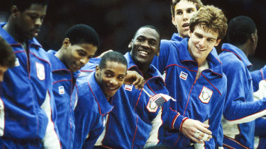 Michael Jordan and his US teammates celebrate Olympic gold in 1984.