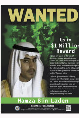 The US Department of State Rewards for Justice's 'wanted' poster for Hamza bin Laden.