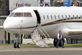 Andrew Forrest and a private jet in Sydney in January.