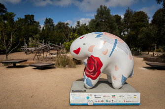 The UooUoo designed by Melbourne artist Justine Millsom at Royal Park's nature play playground.