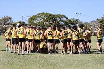 Richmond training yesterday in Queensland.