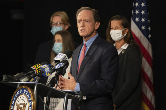 Republican Senator Pat Toomey, pictured here in October, has spoken out against Donald Trump's behaviour in the wake of the US presidential election.